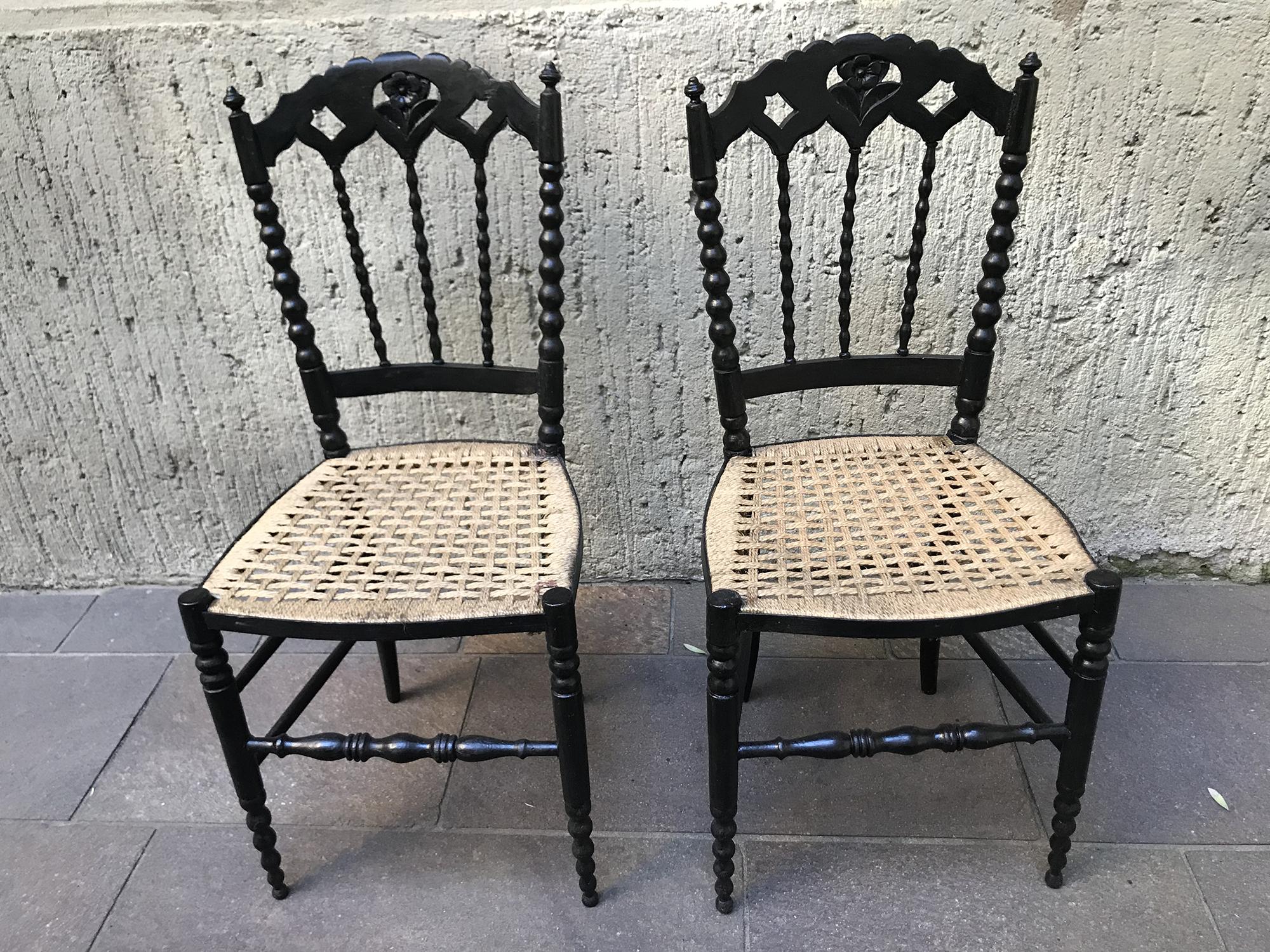 Sedie Nere In Stile Chiavarina 2 S Oggetti Milano Vintage